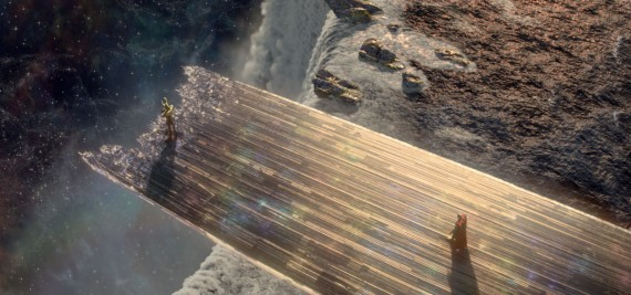 Thor Movie Bifrost Rainbow Bridge Destroyed 570x267 25 Cool New Things Youll See in Thor: The Dark World
