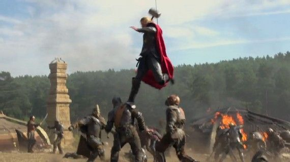 Thor the Dark World Jump Attack 570x320 Thor 2 Trailer Description; Attached To Iron Man 3 [Updated]