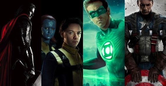 Thor vs X Men First Class vs Green Lantern vs Captain America Superhero Movie Showdown: Thor, X Men, Green Lantern & Captain America