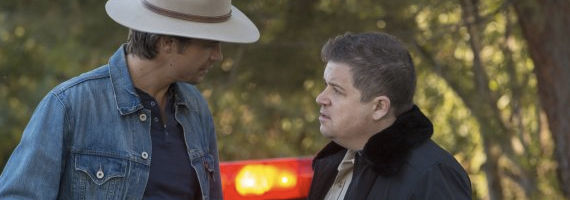 Timothy Olyphant and Patton Oswalt in Justified S4 Hole in the Wall Justified Season 4 Premiere Review