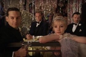 Toby Maguire Leonardo DiCaprio Carey Mulligan and Joel Edgerton in The Great Gatsby 280x186 New Great Gatsby Images: Parties and Hugs