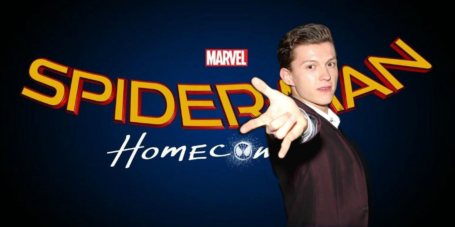 Tom Holland with Spider-Man Homecoming Logo