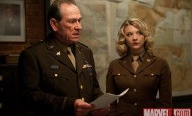 Tommy Lee Jones and Natalie Dormer in Captain America 280x170 Official Thor and Captain America Movie Images
