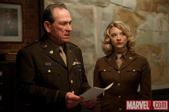 Tommy Lee Jones and Natalie Dormer in Captain America 570x379 Col. Phillips(Tommy Lee Jones )and Pvt. Lorraine (Natalie Dormer) in Captain America