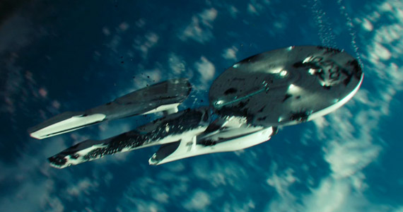 USS Enterprise Falling Star Trek Into Darkness Star Trek Into Darkness Super Bowl Movie Trailer