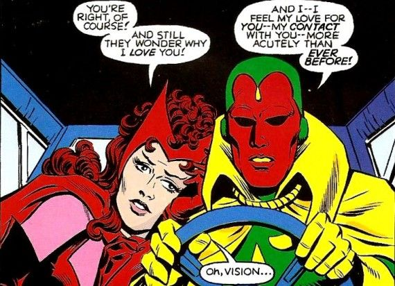 Vision Scarlet Witch Love Marvel Comics 570x412 Paul Bettany Is The Vision in Avengers: Age of Ultron