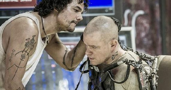 Wagner Moura and Matt Damon in Elysium Elysium Featurettes Showcase Futuristic World & Technology