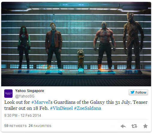 Yahoo Singapore Guardians of the Galaxy Trailer Tweet First Guardians of the Galaxy Trailer is Now Available [Updated]
