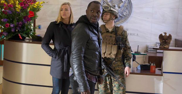 Yvonne Strahovski and Gbenga Akinagbe in 24LAD Episode 4 24: Live Another Day: Everyone is at the Table