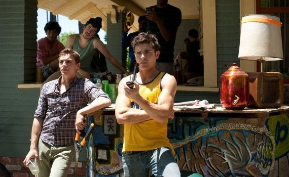 Zac Efron Dave Franco and Christopher Mintz Plasse in Neighbors 2014 570x350 Neighbors Trailer #2 & Image Gallery: Family vs. Frat