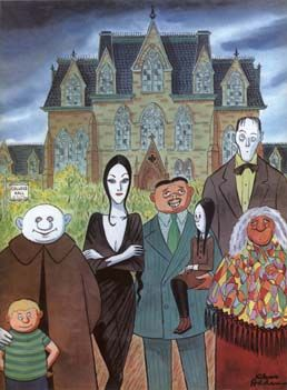 addams cartoon1 Rumor Patrol: Tim Burtons Addams Family 3D?