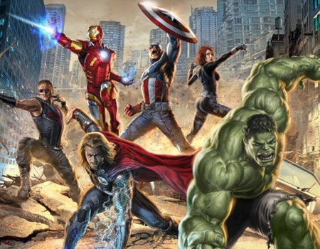 Hawkeye, Iron Man, Captain America, Thor, Black Widow and The Hulk Assemble as The Avengers