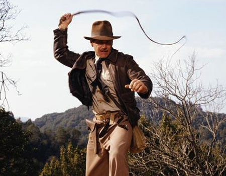 Indiana Jones with his bullwhip from Indiana Jones and the Raiders of the Lost Ark