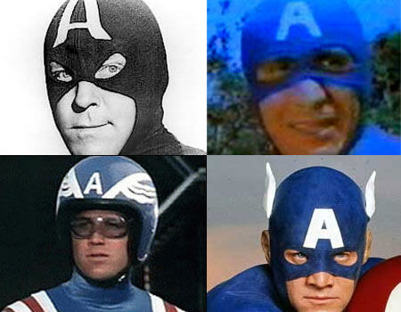 Dick Purcell, Aytekin Akkaya, Reb Brown and Matt Salinger as Captain America