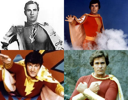 Tom Tyler, Jackson Bostwick, John Davey and Garrett Craig as Captain Marvel