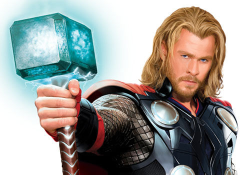 chris hemsworth thor movie costume mjolnir hammer Chris Hemsworths Thor in Full Costume With Mjolnir