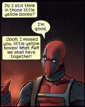 deadpool yellow boxes fourth wall Ryan Reynolds' Deadpool Will Smash The Fourth Wall