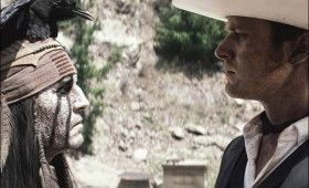 depp tonto lone ranger faceoff 280x170 New Lone Ranger Images & Poster: Johnny Depps Tonto Outfit & Lots of Trains [Updated]