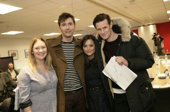 doctor who jenna louise coleman david tennant matt smith 570x377 Doctor Who 50th Anniversary Table Read: Matt Smith & David Tennant
