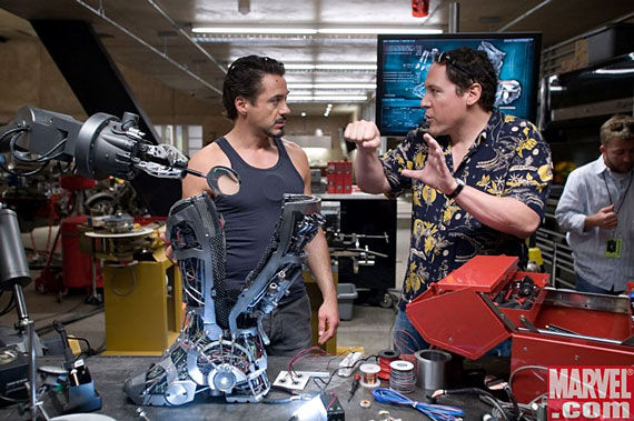 Robert Downey Jr and Jon Favrau on the set of Iron Man