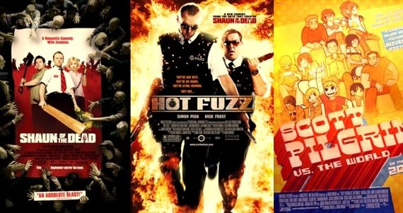 Edgar Wright's movies, including Shaun of the Dead, Hot Fuzz, and Scott Pilgrim vs. the World