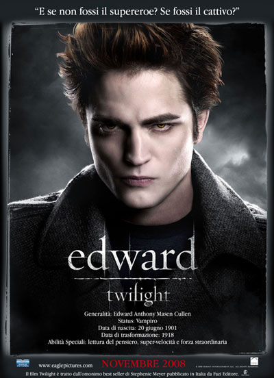 Edward Cullen, looking hot. And straight. And I can tell that hes straight because...