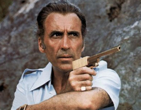 Francisco Scaramanga and his golden gun from The Man with the Golden Gun
