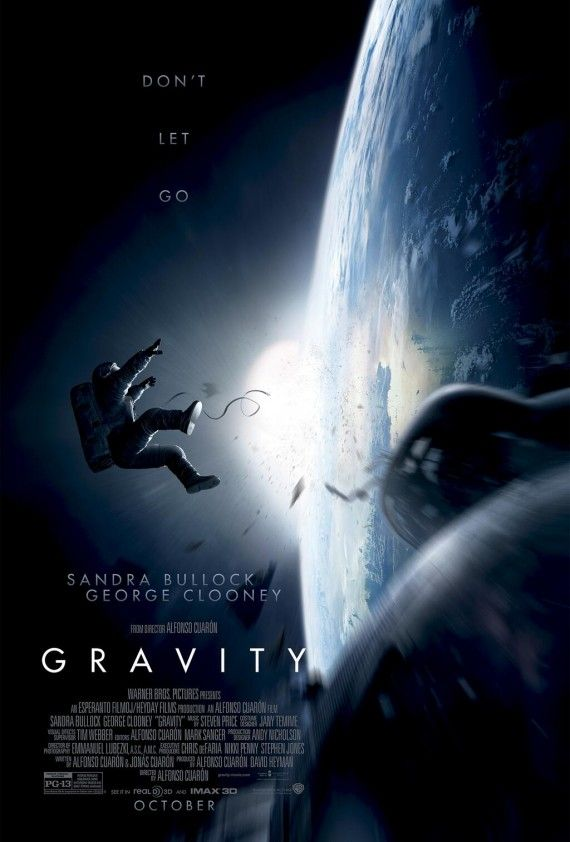 gravity movie poster 570x842 Gravity Trailer: Sandra Bullock Must Fight to Stay Alive in Space