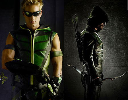 Justin Hartley and Stephen Amell as the Green Arrow