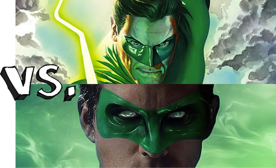 green lantern comic book movie masks Green Lantern: The Comic Books vs. The Movie