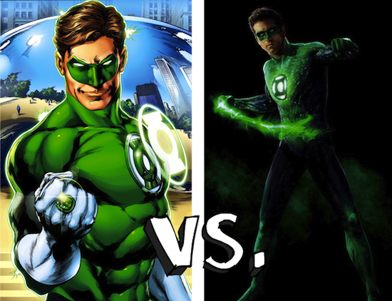 green lantern costumes comic book versus movie Green Lantern: The Comic Books vs. The Movie