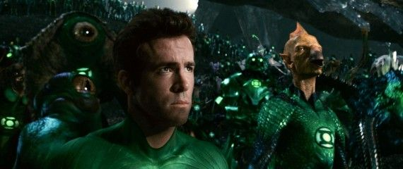 green lantern ryan reynolds listening to sinestro speech 570x240 Green Lantern Hi Res Image Roundup