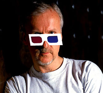 James Cameron wearing 3-D glasses