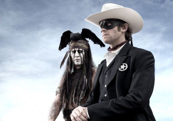 johnny depp armie hammer lone ranger image 570x400 First Lone Ranger Image: Yet Another Weird Johnny Depp Costume