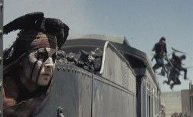 johnny depp tonto train 280x170 New Lone Ranger Images & Poster: Johnny Depps Tonto Outfit & Lots of Trains [Updated]