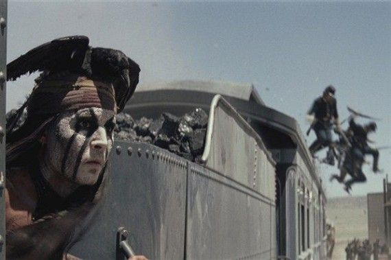 johnny depp tonto train 570x379 Tonto (Johnny Depp) Atop a Train in Lone Ranger