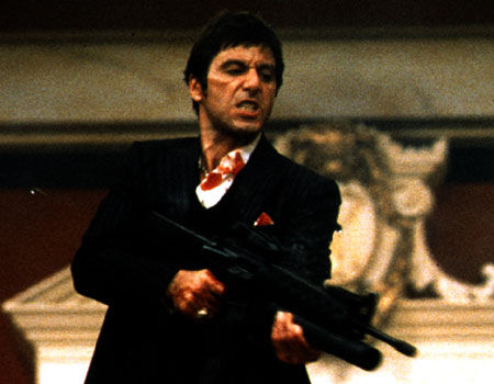 "Tony Montana with his ""Little Friend"" from Scarface"