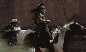 lone ranger tonto horseback 280x170 New Lone Ranger Images & Poster: Johnny Depps Tonto Outfit & Lots of Trains [Updated]