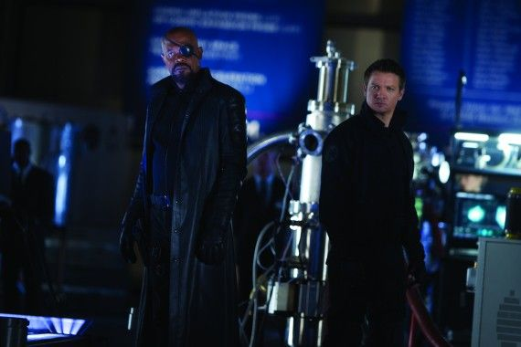 nick fury hawkeye avengers 570x380 Nick Fury and Clint Barton in The Avengers