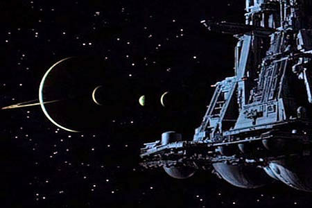 The Nostromo approaches LV-426 in 'Alien' (1979)