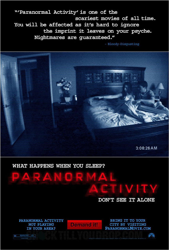 paranormal activity poster1 Poster Friday: Toy Story 3, Saw VI, A Christmas Carol & Many More!