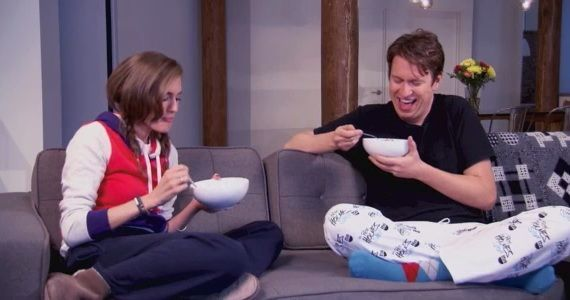 Pete Holmes and Allison Williams