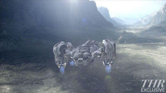 prometheus ship straight lines 570x321 Spaceship Prometheus Lands Atop a Strange Formation