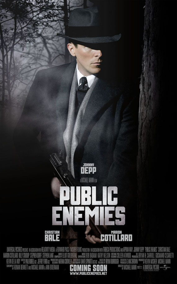 public enemies christian bale New Posters: Inglourious Basterds, Public Enemies, Transformers 2 & More!