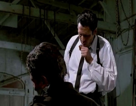 Michael Madsen & Kirk Baltz as Mr. Blonde & Officer Nash in Reservoir Dogs
