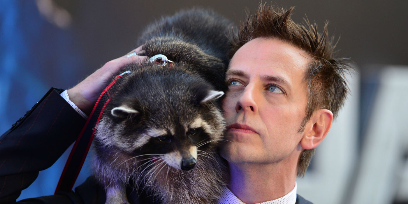 Rocket Raccoon model Oreo and James Gunn