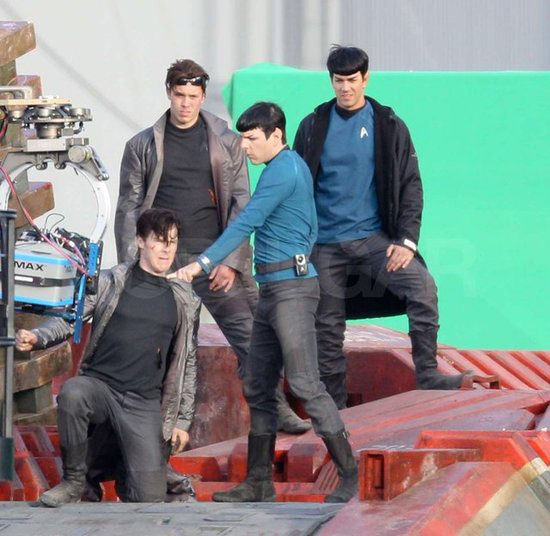 star trek 2 set stunt doubles Benedict Cumberbatch, Zachary Quinto, and their stunt doubles for Star Trek 2