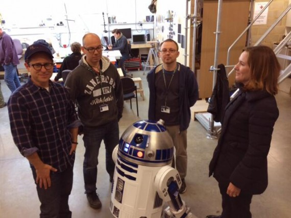 J.J. Abrams, R2 D2 and Kathleen Kennedy (Star Wars: Episode VII)