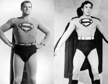 Kirk Alyn and George Reeves as Superman