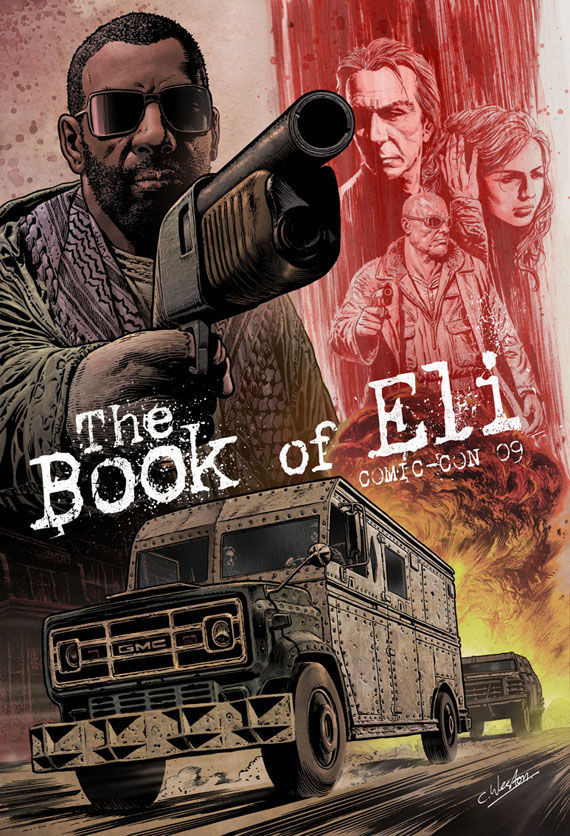 the book of eli comic con poster in progress The Book of Eli Comic Con Poster Art by Chris Weston